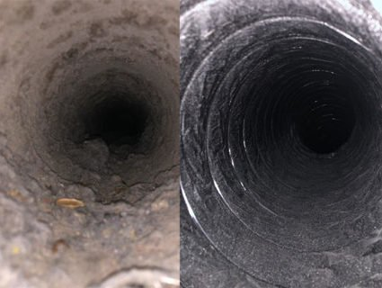 before and after pictures of the professional air duct cleaning