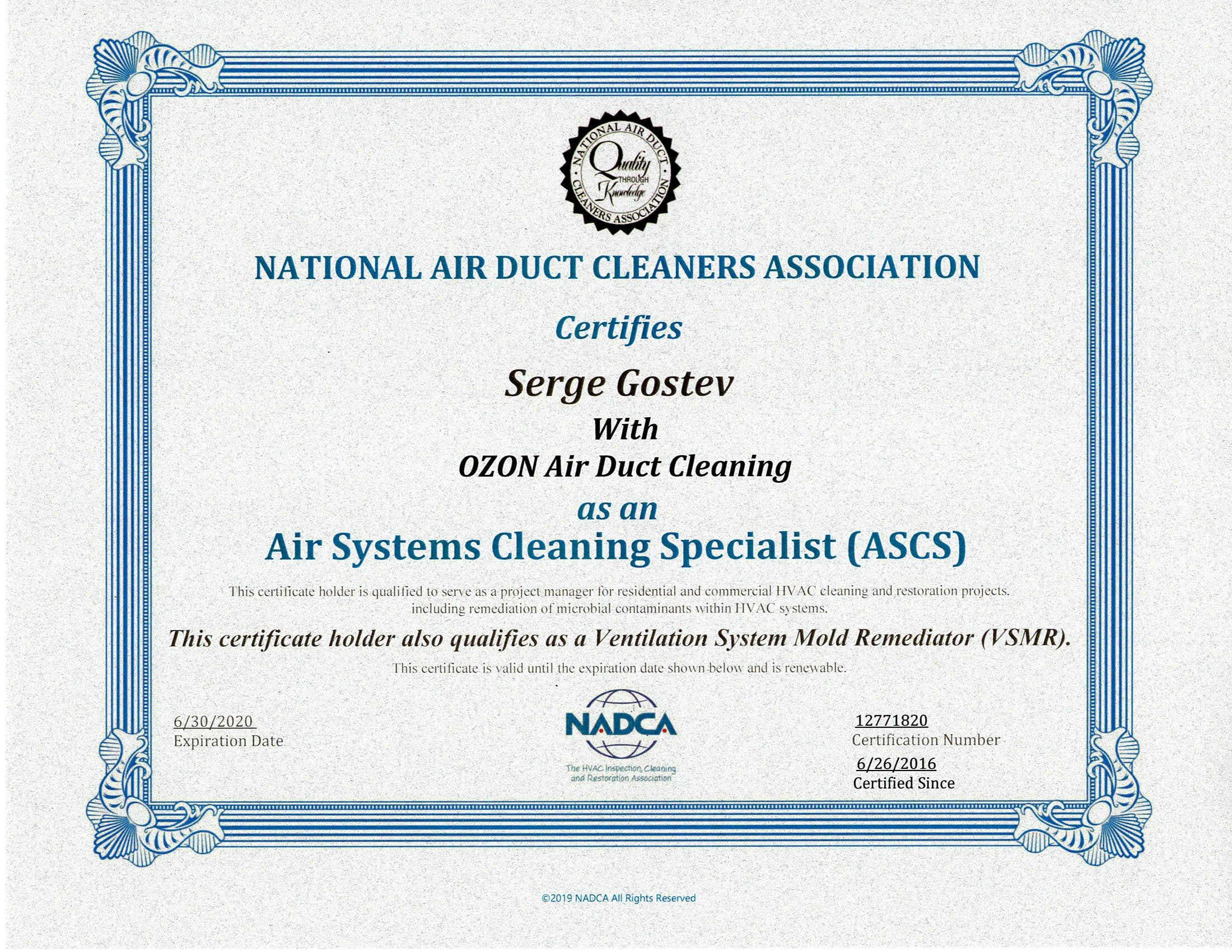 OZON Air Duct Cleaning is a NADCA member